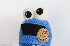 Cookie Monster Inspired Baby Hat Crochet Pattern