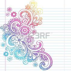 Flower Power Back to School Sketchy Notebook Doodles-Illustration Design on Lined Sketchbook Paper Background Vector