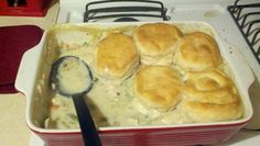 FABULOUS - Peggy's Homemade Chicken Pot Pie with Biscuits. Chop 1 medium onion, 2 stalks celery, and 2 medium carrots. Saute in skillet with olive oil and 2 Tbsp butter until tender. Add 1 can green beans and 1/2 c. sliced mushrooms. Season with 1/4 tsp of salt and 1/4 tsp. pepper. Saute until mushrooms are tender. Add 3 cans of cream soup (I used cream of mushroom) to the veggies. Add 1 1/2 can of milk, 3 chopped and cooked chicken breasts. Salt and pepper to taste. Cook until heated… Homemade Chicken Pot Pie, Cooked Chicken, How To Cook Chicken, Chicken Recipes, Creamed Mushrooms, Stuffed Mushrooms, Stuffed Peppers, Biscuit Pot Pie