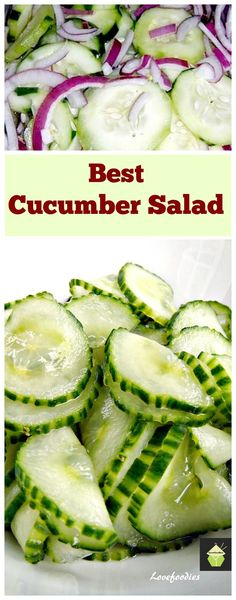 Great Flavors and always a hit! Very refreshing taste and crunch with a pickled flavor -remember to sub in white wine vinegar Easy Cucumber Salad, Cucumber Salad Vinegar, Cucumber Recipes, Vegetable Recipes, Salad Recipes, Sweet And Sour Cucumber Salad Recipe, Juice Recipes, Sandwich Recipes, Weigt Watchers