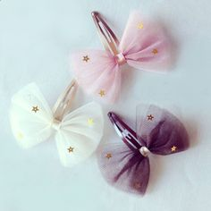 Hair Clips - Tulle Bow Hair Clip is made from a beautiful pink / brown / ivory tulle bow with gold star sequins embellished. The snap clip is 50mm in length.Pick one of these style for your 1 piece package : Vanilla / Berry Pink or Chocolate. #hairclips
