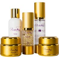"""Pure Au Skin Care CollectionPureAu™ , Pure Gold. Take advantage of the """"New Gold Standard for Skin Care"""" with this simple to use, complete skin care package. Each step is carefully outlined on the back of each container. No longer will you need to wonder how to apply it or what comes next. Simply follow the 5 easy steps and enjoy Pure Gold to your skin."""