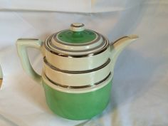 Hall's China Coffee Pot, Green and Ivory with silver bands, Vintage Coffee Pot, Hall's Superior Quality, Coffee Pot, Hall China by 2ndChanceShop on Etsy https://www.etsy.com/listing/208897469/halls-china-coffee-pot-green-and-ivory