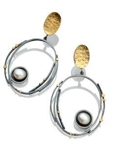 Big Pearl  Circle earrings.