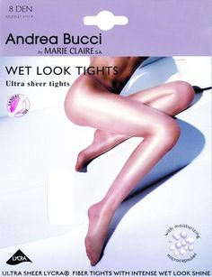 1aa4d510c419a Andrea Bucci Wet Look Tights 8 Denier STW Intense Wet Look Shine Oiled Gloss