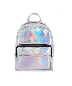 ae2f754a2a0a Women Shiny Holographic PU Leather Shoulder Bag Satchel Backpack School Bag  - Silver - CH184IAKZH9