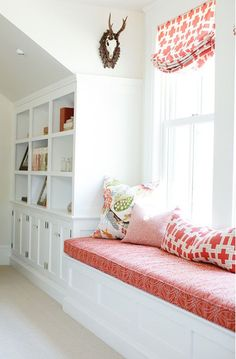 Caitlin Wilson Design - bedrooms - window seat, built-in window seat, reading nook, built-in window seat with bookcases, bookcases built int. Home Living, Living Spaces, Living Room, Cottage Design, House Design, Design Room, Design Design, Design Ideas, Country Chic Cottage