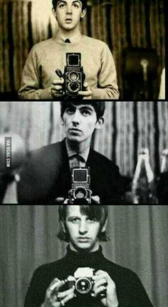 Paul, George and Ringo took mirror shots before it was cool