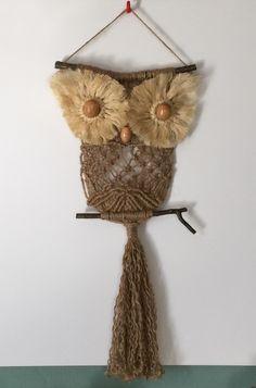 OWL #88 Macrame Wall Hanging, natural jute, sisal