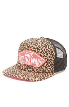 06ee92c251584 Vans Beach Girl Leopard Trucker Womens Black Classic Patch Snapback New NWT