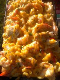 Sunset shrimp, grilled chicken and crab Mac && Cheese