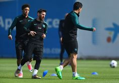 Neymar, Lionel Messi and Luis Suarez of Barcelona take part in a drill during a FC Barcelona training session on the eve of their UEFA Champions League quarter final second leg match against Juventus at FC Barcelona Sports Centre on April 18, 2017 in Barcelona, Catalonia.