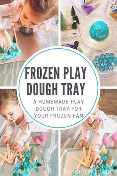 Frozen Play Dough Tray- A homemade playdough tray for your frozen fan!  Using materials you have around the house set up this invitation to play for your toddler. Kids Learning Activities, Sensory Activities, Sensory Play, Toddler Activities, Sensory Rooms, Frozen Playdough, Homemade Playdough, Toddler Shows, Toddler Play