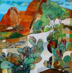 "Sedona by Linda Bell, acrylic collage, 16"" x 16""  