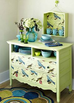 Frugal Crafty Ways To Decorate Your Home... Never would of thought of this !! Drawer on the wall !!