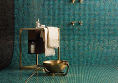 beautiful vintage bathroom with green mosaic and brass accessories Blue Mosaic Tile, Mosaic Glass, Glass Tiles, Baby Bathroom, Mosaic Bathroom, Design Fields, Vintage Bathrooms, Milan Design, Shower Floor