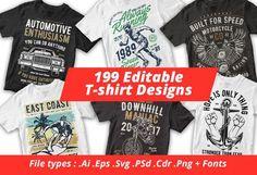 c8004b000 Vector T-shirt Designs Bundle, This tshirt designs bundle contains 199  editable .