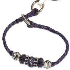 "Purple 10"" braided kangaroo leather dog slip collar w. beads for shows, obedience training"