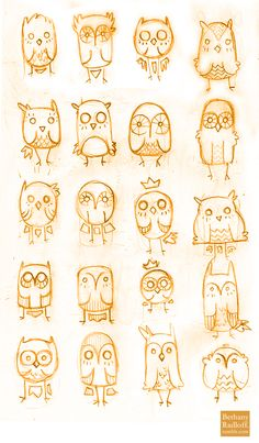 Owls are cute, but really just like the simple drawings and various versions of one thing,