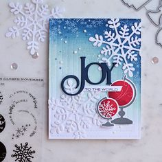 card design handmade new pickled paper designs papertrey ink glorious globes november of card design handmade Holiday Cards, Christmas Cards, Business Card Design Inspiration, Ink Stamps, Christmas Holidays, Christmas 2019, Christmas Ideas, Joy To The World, Paper Design