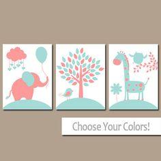 CORAL AQUA Nursery Wall Art, CANVAS or Prints, Baby Girl Nursery Decor, Elephant…