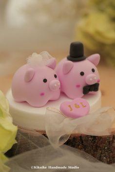 pig and piggy Wedding Cake Topperk703 by kikuike on Etsy
