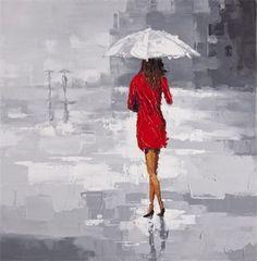 Red Lady in the Rain Wall Art Beauty in Art