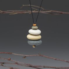 Necklace of beach stones , cairn of beach stones,neutrals, meditative, zen, adjustable cord