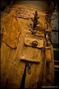 steampunk kilt from Alt.Kilt - a Madison-based shop Costume Steampunk, Steampunk Clothing, Steampunk Fashion, Utility Kilt, Men In Kilts, Gothic, Urban Outfits, Dieselpunk, Looks Cool
