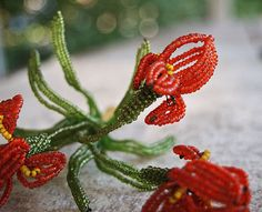 Vintage French Beaded Tiger Lily Flowers