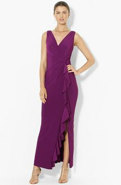 Lauren Ralph Lauren Matte Jersey Faux-Wrap Gown (Regular & Petite) available at #Nordstrom
