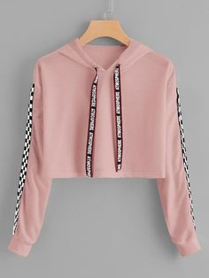 Hooded Sweatshirt Outfit for Women, Print Hooded Sweatshirt – Drawstring Hoodie Plaid Sweatshirt – Sweatshirt Crop Top Outfits, Cute Casual Outfits, Cute Summer Outfits, Stylish Outfits, Summer Clothes, Teenage Outfits, Teen Fashion Outfits, Outfits For Teens, Girl Fashion