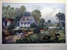 American Homestead Summer Artist: Currier & Ives, American Medium: Hand-colored lithograph on wove paper Dates: Dimensions: 7 x 12 x Currier And Ives, Farm Yard, Hand Coloring, Home Art, Antiques, American, Color Print, Art Print, Vintage Art