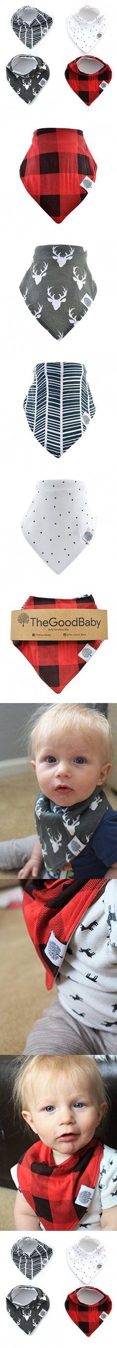 "The Good Baby Bandana Drool Bibs - 4 Pack Baby Bibs for Boys - ""Lumberjack Set"""