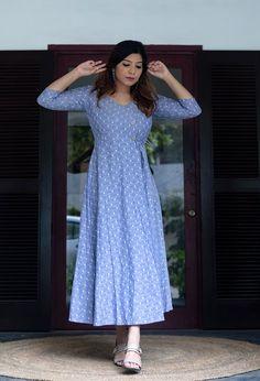 Blue handloom fine cotton angrakha wrap dress with stylized wooden buttons and tie-up. A smart, casual outfit. Simple Kurta Designs, Kurti Neck Designs, Kurta Designs Women, Kurti Designs Party Wear, Salwar Designs, Indian Designer Outfits, Designer Dresses, Kalamkari Dresses, Ikkat Dresses