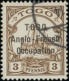 German Colonies Togo British Occupation, SG H14. Togo. 1914 (Oct.) 2mm. Setting. 3pf. brown, fine used with small part datestamp; fine and scarce. B.P.A. Certificate (1979). Sc. 48; S.G. H14, £1,100. Photo  provenance:. Robert M. Gibbs, . Allen, March 2004 (Estimate 500 - 600)
