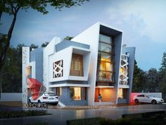 Modeling And Rendering Of Modern Bungalow - Picture gallery Row House Design, Bungalow House Design, Modern Bungalow, Balcony Design, Cool House Designs, Modern Exterior House Designs, Bungalow Exterior, Modern House Design, Exterior Design