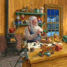 Le Père Noël préparant les jouets destinés aux enfants qu'ils va charmer .