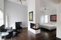Two-sided fireplace in the bedroom used to perfection