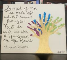 Mixed media (acrylic and sharpie) on canvas Handprint tree+quote inspired by/found on pinterest (normally it's a family tree w/kid's hands but this is me and my siblings…we are, unfortunately, all adults age-wise BUT it's the sentiment that counts!!)