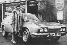 English actress Rita Tushingham with a brand new 1969 Reliant Scimitar GTE-SE5.