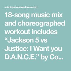 """18-song music mix and choreographed workout includes """"Jackson 5 vs Justice: I Want you D.A.N.C.E."""" by ComaR """"Oversleeping"""" by I'm From Barcelona """"Fireflies"""" by Owl City 1. """"Jackso…"""