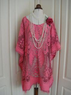 Impresionante algodón Vintage encaje calado calado de gran tamaño caftán Top túnica vestido carmesí rojo fiesta Beach