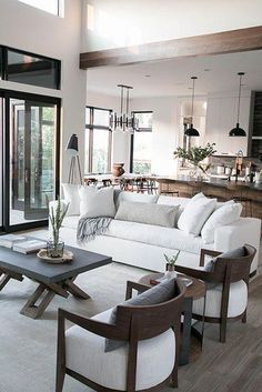 20 Stunning Open Plan Kitchen And Living Room Design Ideas. 20 Stunning Open Plan Kitchen And Living Room Design Ideas. 'Open-plan living' has been one of the most popular phrases in interior design over the last few years. A multi-functional, […] Open Living Room Design, Home Interior Design, Modern Dining Room, Living Room Scandinavian, Interior Design Living Room, Modern Room, Farm House Living Room, Neutral Living Room Design, Dining Room Design Modern