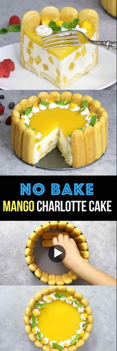 No Bake Mango Charlotte Cake – the most beautiful and unbelievably delicious mango cheesecake. All you need is some simple ingredients: mango juice, ladyfingers, cream cheese, sugar, whipped cream…More Make Ahead Desserts, No Bake Desserts, Just Desserts, Baking Desserts, Mango Cheesecake, Cheesecake Recipes, Mango Dessert Recipes, Juice Recipes, Charlotte Cake