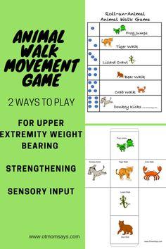 Two ways to play animal walk movement break games