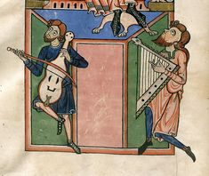 Musicians playing a rebec and a cithar.  German, 12th century.  British Library.