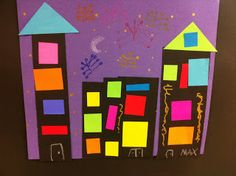 """(Shapes, cities, silhouettes).  Begin by reading """"That Pesky Rat"""".  Prekindergarteners and up can then create their own nighttime city scape.  They will cut out black rectangles for buildings/houses (introduce words silhouette), and ultra bright smaller squares and rectangles for the light-up windows."""