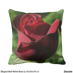 Elegant Red Velvet Rose Throw Pillow - $34.95 - Elegant Red Velvet Rose Throw Pillow - by #RGebbiePhoto @ #zazzle - #Rose #Flowers #Red - A beautiful rosebud, deep velvet red in color, in a spring garden. Strong red and green theme, this elegant rose adds a touch of class to any occasion. Elegance and Romance, a lover's flower. A definite must for red rose lovers!