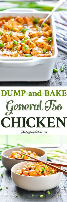 This Dump-and-Bake General Tso Chicken is a healthier and easier version of the classic Chinese food! Chicken Breast Recipes | Easy Dinner Recipes | Healthy Dinner Recipes #chicken #dinner #healthy #TheSeasonedMom